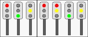 A sinistra: la successione dei colori dei semafori in Italia, a destra: il semaforo in Germania. Si vede che, tra il rosso e il verde, c'è, per pochi secondi, un semaforo rosso-giallo.